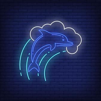 Delfino in segno al neon delle onde.