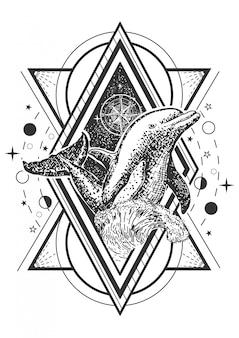 Delfino stile arte del tatuaggio