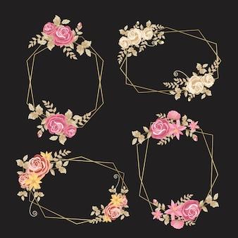 Delicati fiori con foglie su cornici dorate
