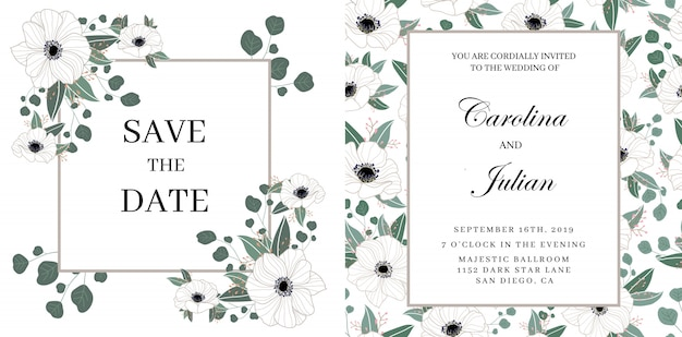 Delicato invito a nozze floreale