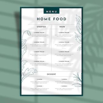 Delinea il menu del ristorante con fiori e foglie