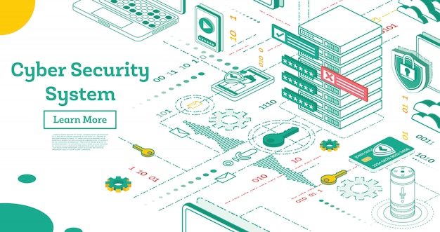 Delinea il modello della pagina di destinazione di cyber security
