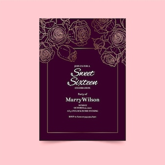 Delinea il modello di invito di compleanno di rose dorate