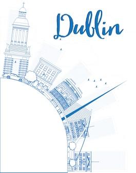 Delinea lo skyline di dublino con edifici blu e copia lo spazio