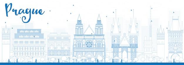 Delinea lo skyline di praga con punti di riferimento blu