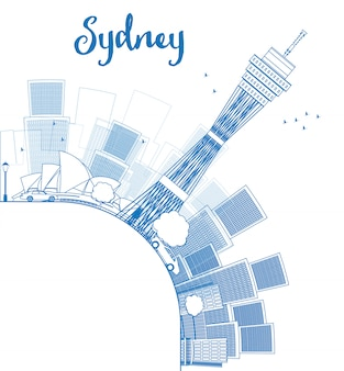 Delinea lo skyline di sydney city con i grattacieli e copia lo spazio