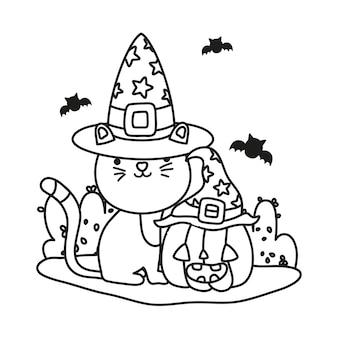 Delineare il simpatico gatto con cappello e zucca con i pipistrelli