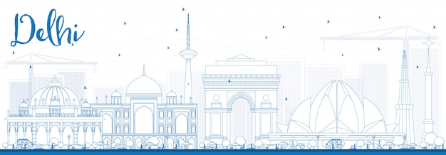 Delineare lo skyline di delhi con edifici blu.