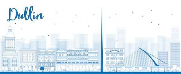 Delineare lo skyline di dublino con edifici blu, irlanda