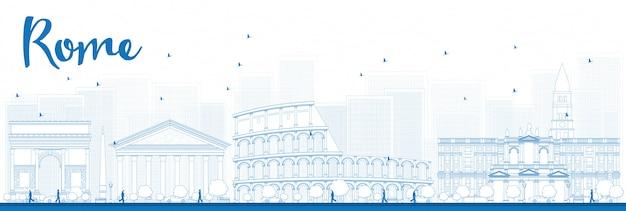 Delineare lo skyline di roma con punti di riferimento blu