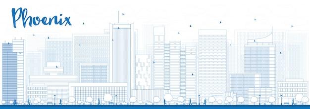 Delineare phoenix skyline con edifici blu