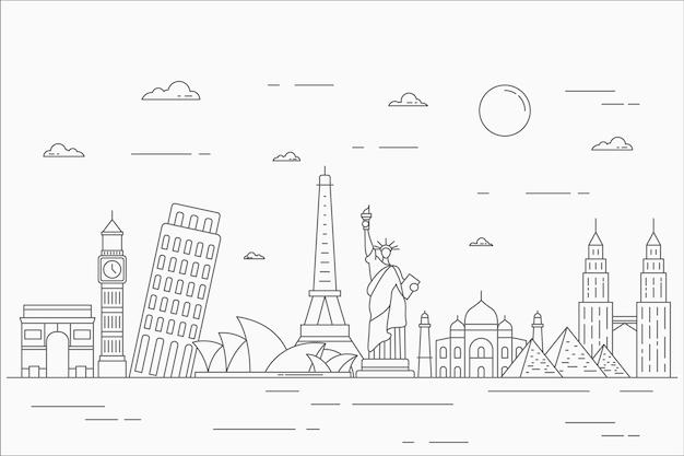 Delineare punti di riferimento skyline design