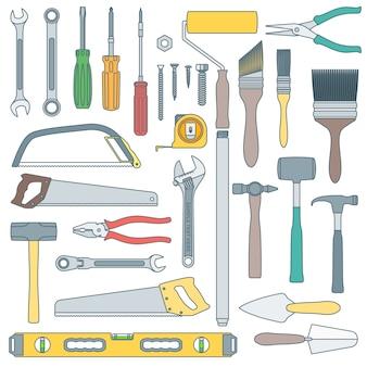 Delineare vari strumenti di ristrutturazione casa impostati