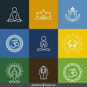 Delineato collezione di icone di yoga