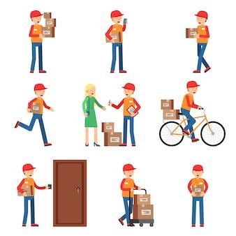 Delivery worker in diverse pose di azione.