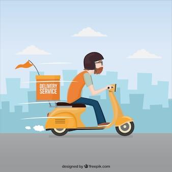 Deliveryman che guida velocemente il suo scooter