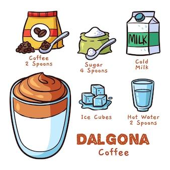 Deliziosa bevanda al caffè per la ricetta estiva dalgona