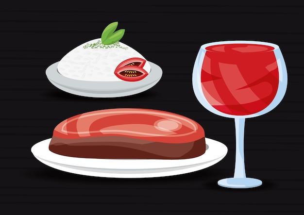 Deliziosa carne alla griglia con riso e bevande menu ristorante