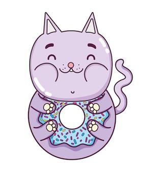 Deliziosa ciambella di gatto divertente kawaii