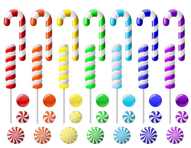 Deliziosa collezione di lecca-lecca colorata. set con caramelle colorate su sfondo bianco
