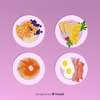Deliziosa raccolta di piatti della colazione