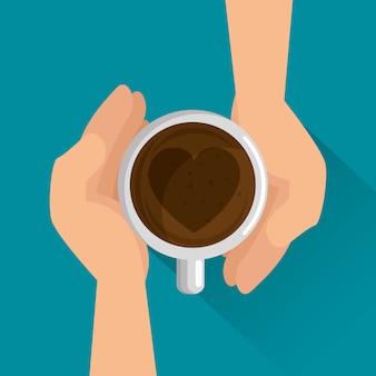 Deliziosa tazza di caffè con cuore