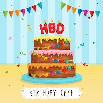 Deliziosa torta di buon compleanno con il vettore di candela hbd