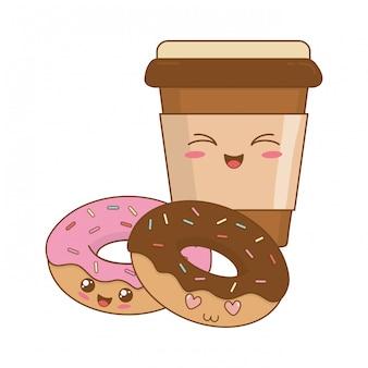 Deliziose ciambelle dolci e personaggi caffè kawaii