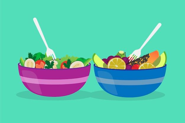 Deliziose ciotole di frutta e insalata