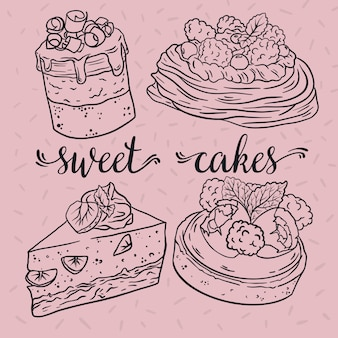 Deliziose torte con frutti di bosco. schizzo. illustrazione vettoriale