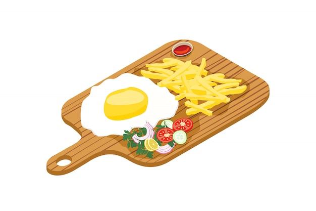 Deliziose uova fritte con patatine fritte
