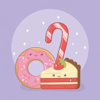 Deliziosi e dolci ciambelle e prodotti kawaii