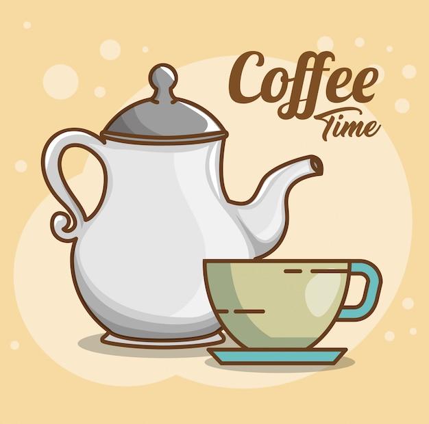 Deliziosi elementi del tempo del caffè