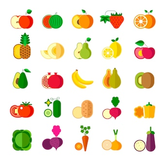 Deliziosi frutti maturi e set di verdure oraniche sane
