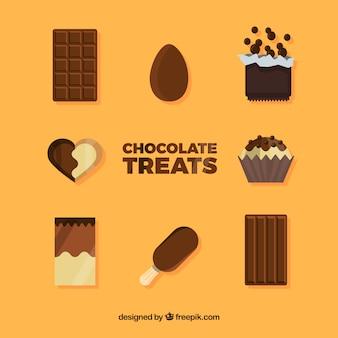 Deliziosi pezzi di cioccolato e raccolta di caramelle