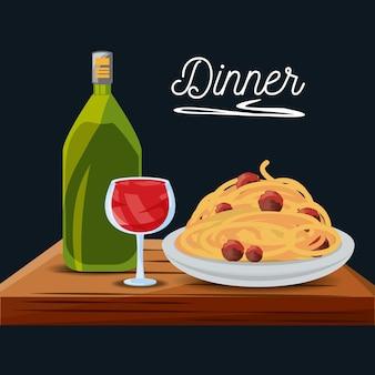 Deliziosi spaghetti con menù di vini