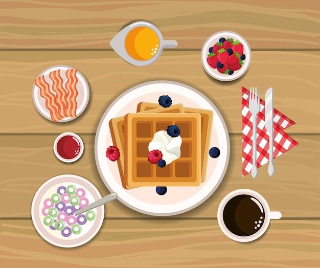 Deliziosi waffle con bacon e succo d'arancia