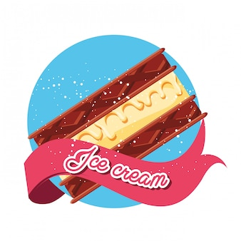 Delizioso brownie con gelato