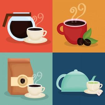 Delizioso caffè e icone del tempo del tè