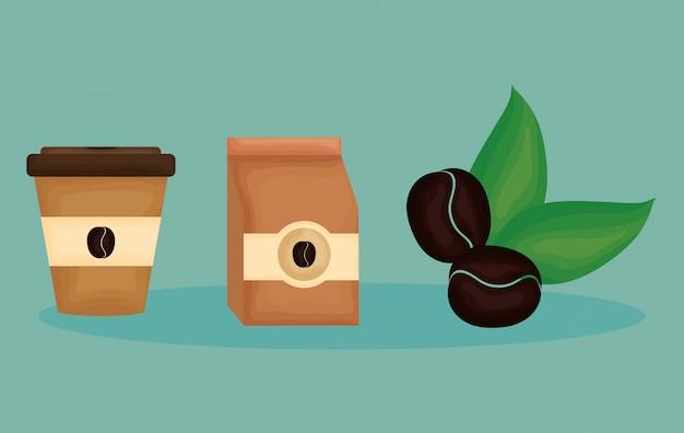 Delizioso caffè set di icone