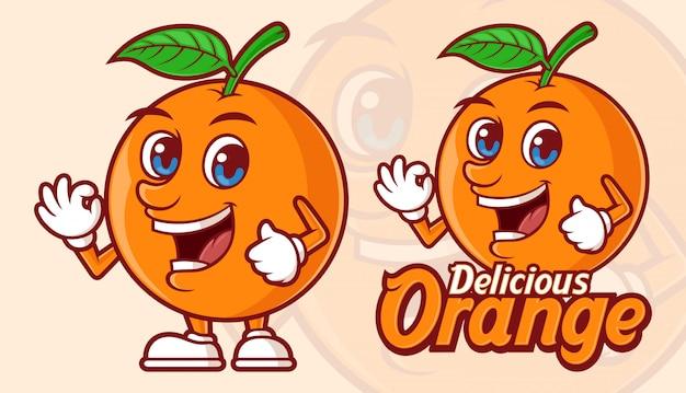 Delizioso cartone animato di frutta arancione, simpatico personaggio mascotte