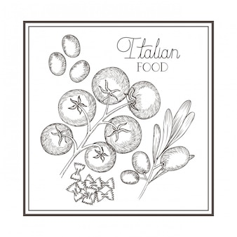 Delizioso cibo italiano nel disegno