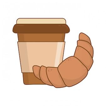 Delizioso cornetto con caffè