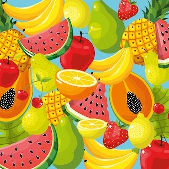 Delizioso disegno di sfondo di frutta tropicale