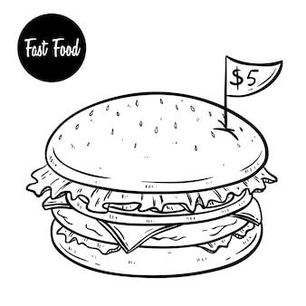 Delizioso fast food di hamburger con il prezzo e l'utilizzo di stile doodle disegnato a mano