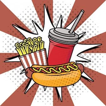 Delizioso fast food in stile pop art