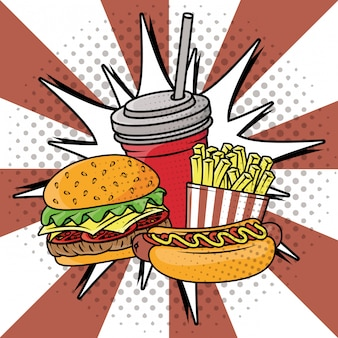 Delizioso fast food in stile pop art