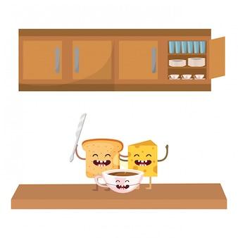 Delizioso fumetto per la colazione kawaii