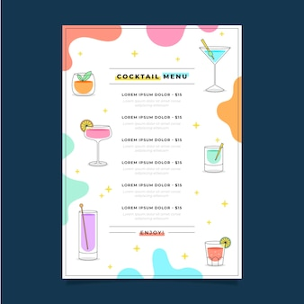 Delizioso menu del ristorante cocktail fresco
