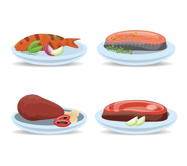 Delizioso menù di carne e pesce alla griglia